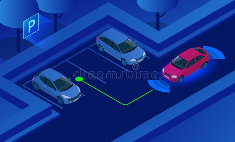 Ilustração isométrica do vetor do sistema da assistência do estacionamento Tecnologia do carro com sensores Sensores que fazem a  ilustração royalty free
