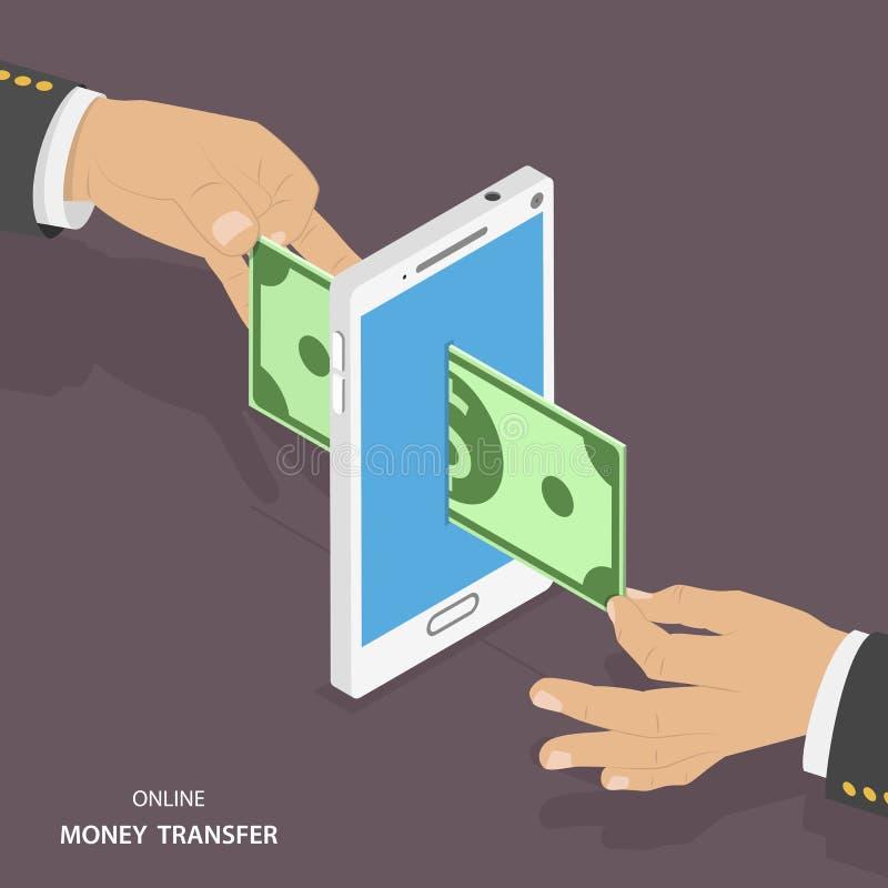 Ilustração isométrica em linha do vetor de transferência de dinheiro ilustração do vetor