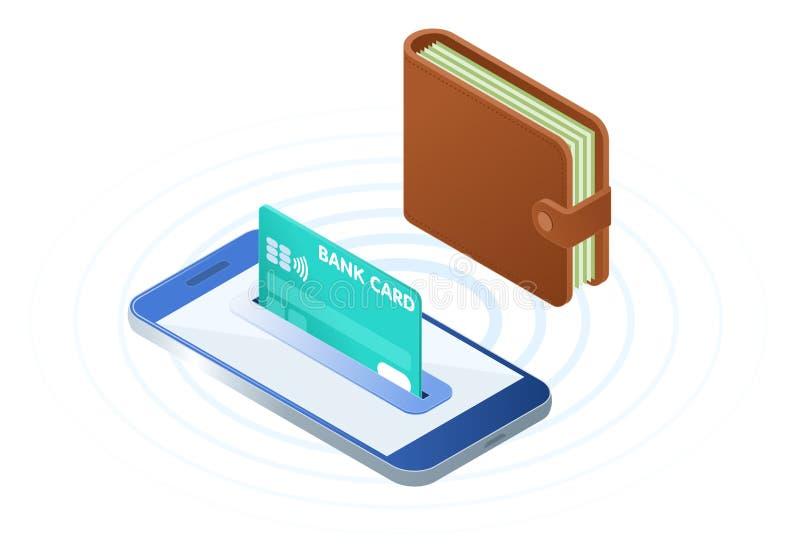 Ilustração isométrica lisa da carteira com cédulas, telefone, cre ilustração do vetor