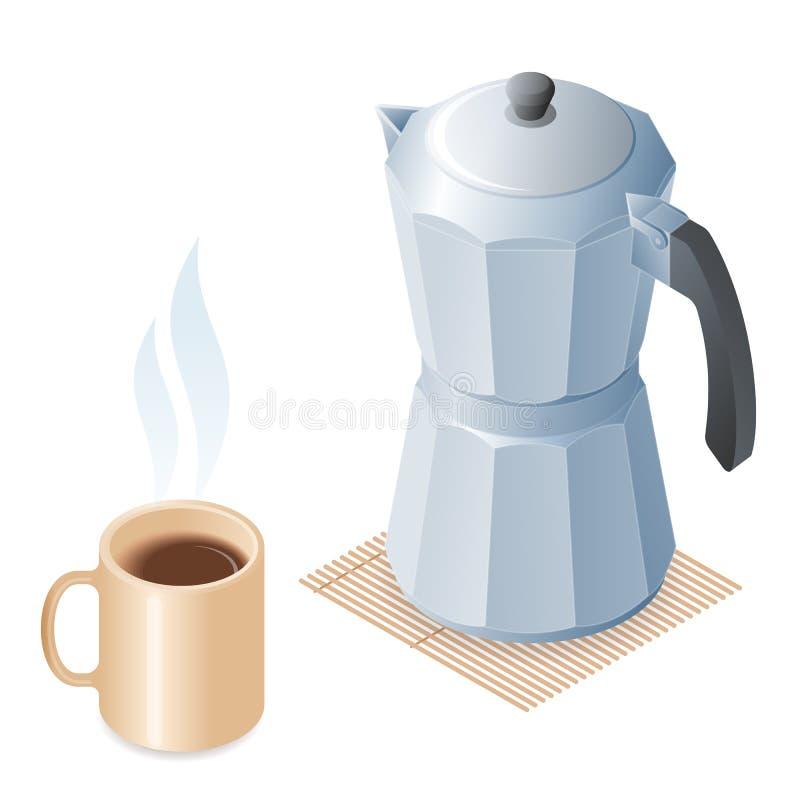 Ilustração isométrica lisa da xícara de café e do coffeem cerâmicos ilustração do vetor