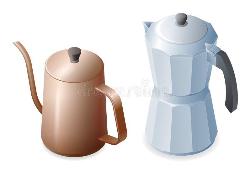 Ilustração isométrica lisa do potenciômetro do café do metal e do fabricante de café ilustração stock