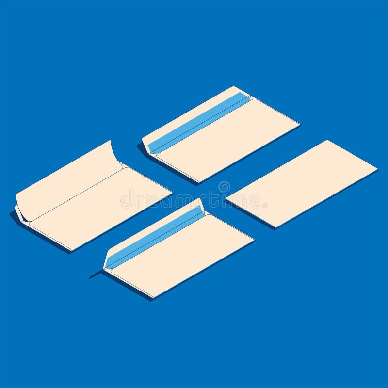 Ilustração isométrica lisa do vetor de envelopes de papel vazios ilustração royalty free