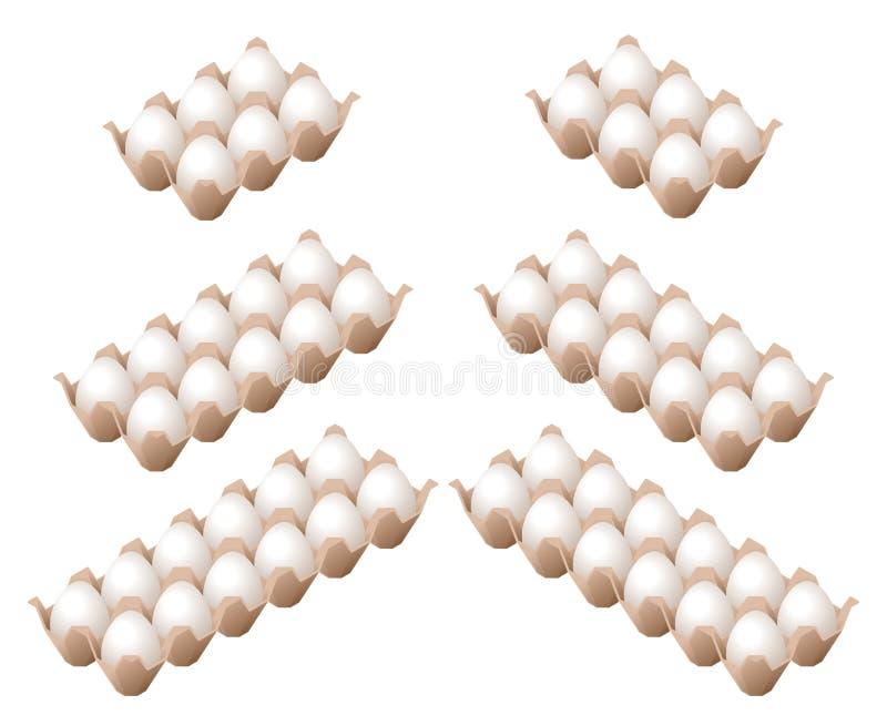 Ilustração isométrica lisa dos ovos no boxe diferente da caixa ilustração royalty free