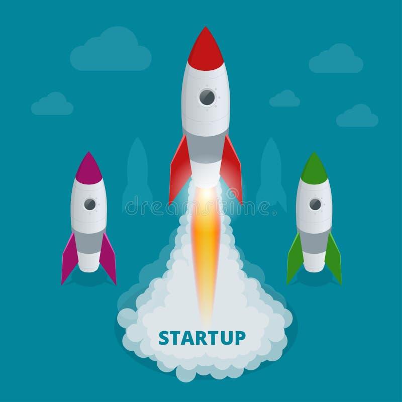 Ilustração isométrica lisa Startup do vetor do infographics da Web do conceito do negócio da tecnologia do estilo 3d ilustração do vetor