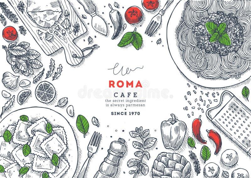 Ilustração italiana da opinião superior do menu do restaurante Spagetti e fundo da tabela do ravioli Ilustração gravada do estilo ilustração do vetor