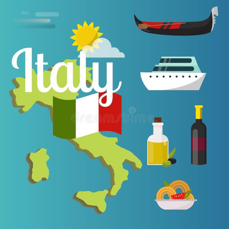 Ilustração italiana sightseeing dos elementos da arquitetura do mundo dos símbolos do turista da atração do vetor do mapa do curs ilustração do vetor