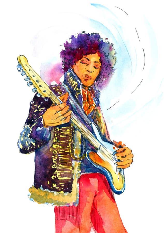 Ilustração Jimi Hendrix da aquarela com guitarra fotografia de stock