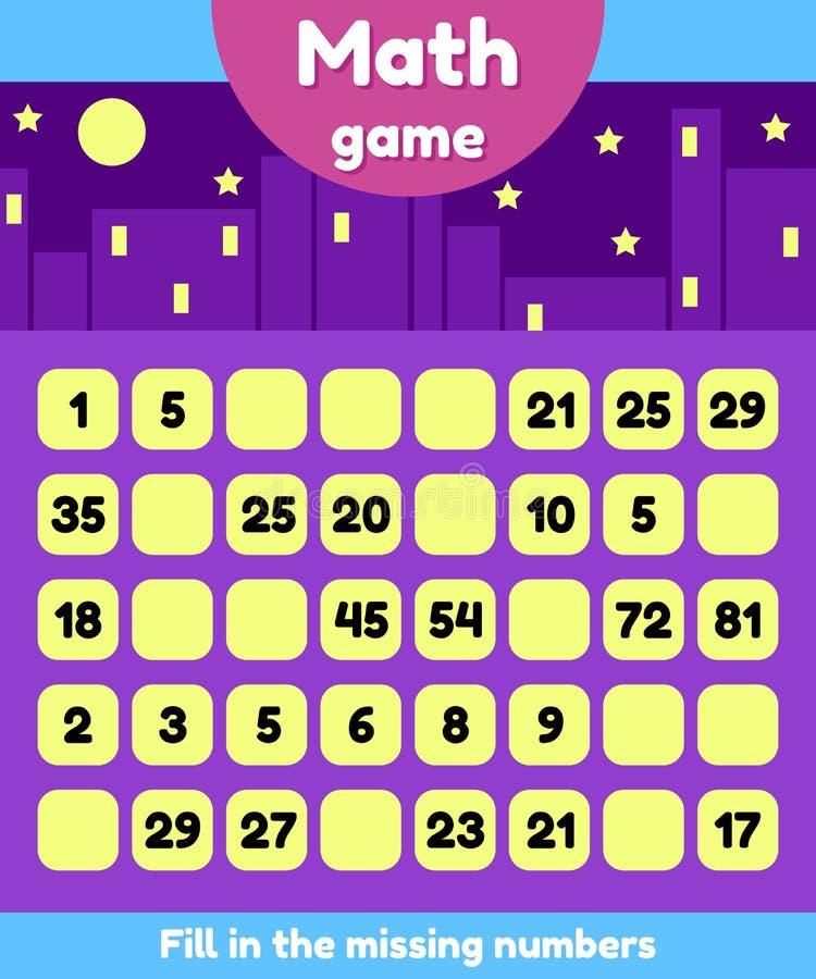 Ilustração Jogo da matemática para crianças do pré-escolar e da idade escolar Encha os números faltantes Encontre uma sequência ilustração royalty free