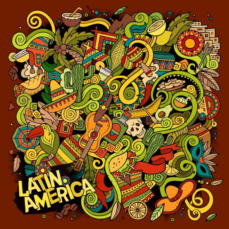 Ilustração latino-americano das garatujas desenhados à mão dos desenhos animados ilustração stock