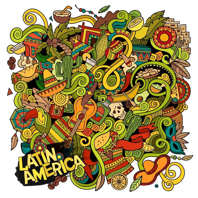 Ilustração latino-americano das garatujas desenhados à mão dos desenhos animados ilustração royalty free