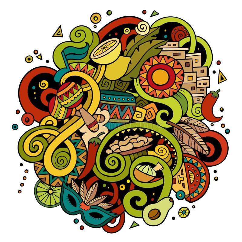 Ilustração latino-americano das garatujas desenhados à mão dos desenhos animados ilustração do vetor