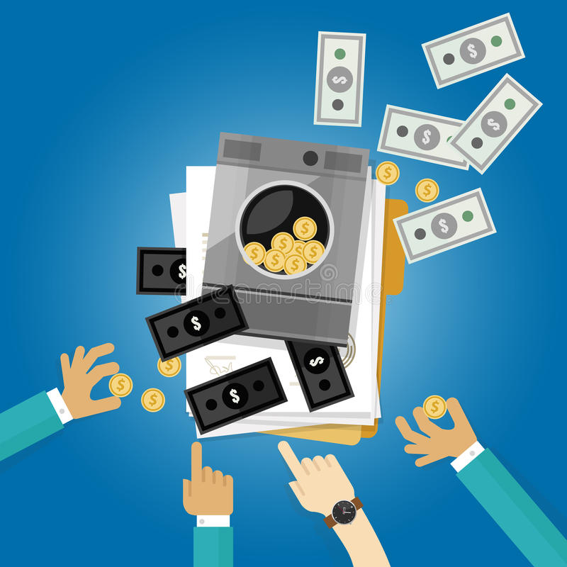 Ilustração limpa de lavagem do símbolo do dólar do crime da lavanderia do dinheiro lisa ilustração stock