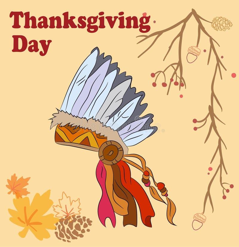 Ilustração linear da cor do vetor do dia feliz da ação de graças do chapéu do nativo americano e do texto escrito à mão Nativo ti ilustração do vetor