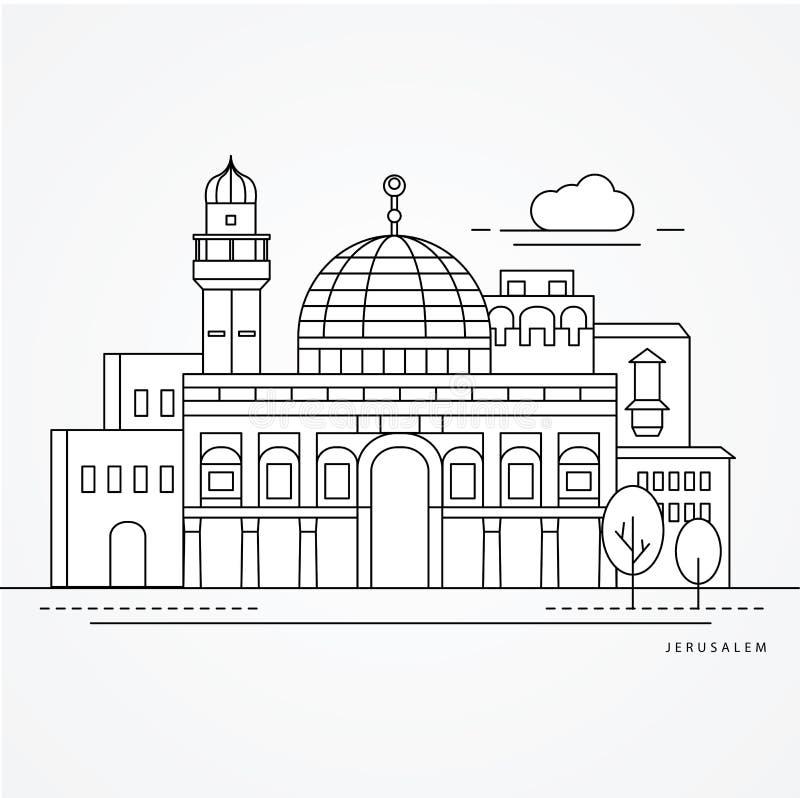 Ilustração linear de Jerusale, Israel Uma linha estilo lisa ilustração royalty free