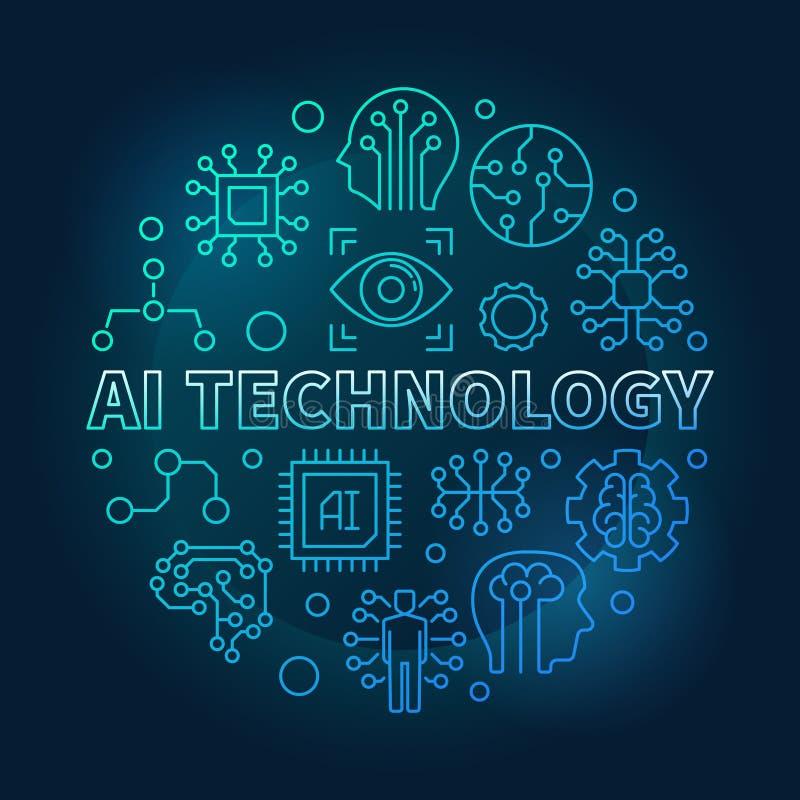 Ilustração linear do vetor azul do círculo da tecnologia do AI ilustração stock