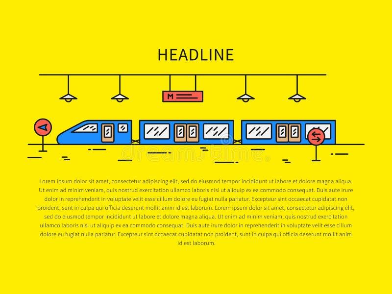 Ilustração linear do vetor da estação de trem subterrânea do metro ilustração stock
