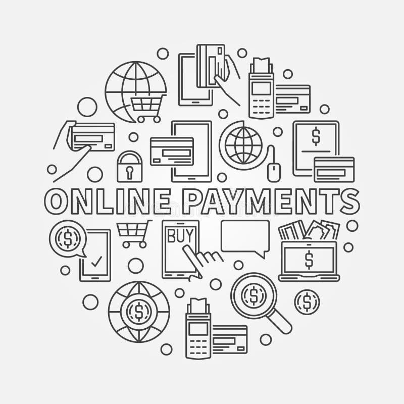 Ilustração linear dos pagamentos em linha ilustração do vetor