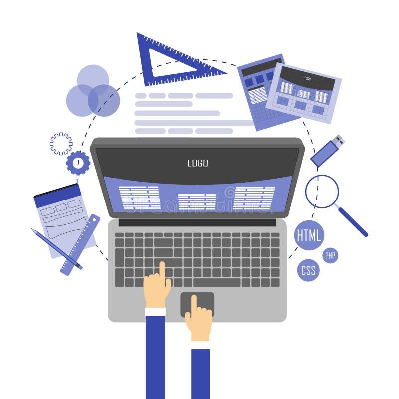 Ilustração lisa abstrata de conceitos do design web e do desenvolvimento Elementos para o móbil e as aplicações web foto de stock