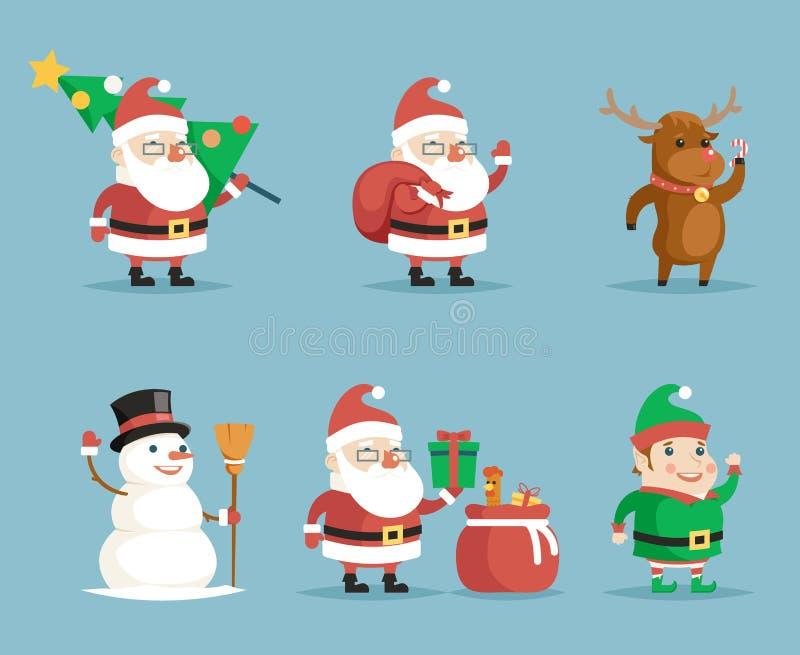 Ilustração lisa ajustada ícones do vetor do projeto do ano de Santa Claus Cartoon Characters Christmas New do boneco de neve dos  ilustração stock
