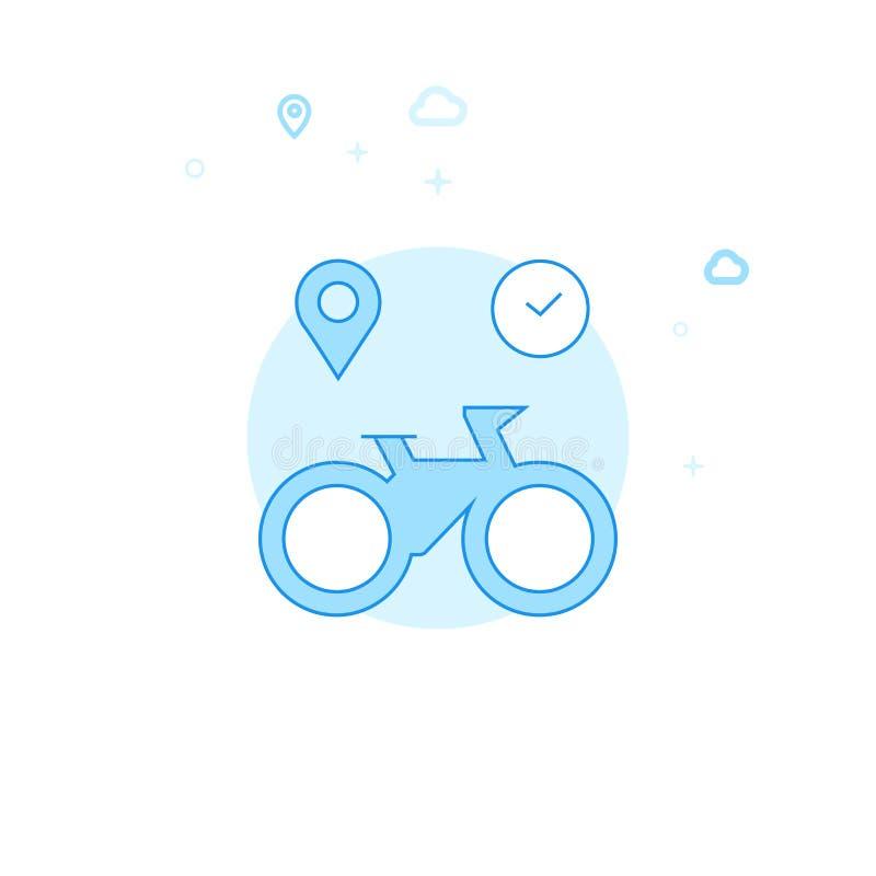 Ilustração lisa alugado do vetor da bicicleta ou da bicicleta, ícone Claro - projeto monocromático azul Curso editável ilustração royalty free