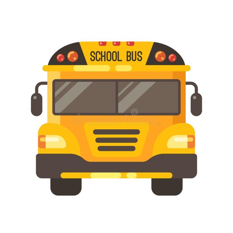 Ilustração lisa amarela da opinião dianteira do ônibus escolar ilustração stock
