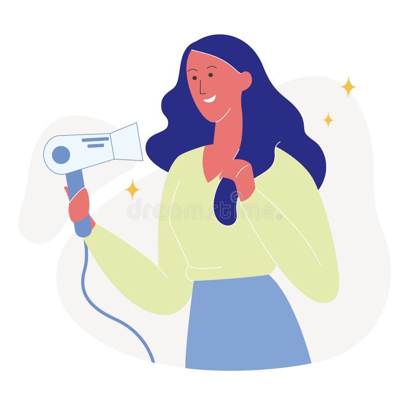 Ilustração lisa atrativa do cabelo de secagem da mulher ilustração royalty free