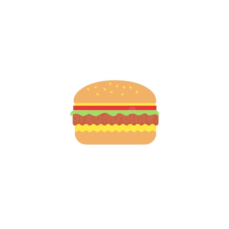 Ilustração lisa colorida do vetor do hamburguer ilustração do vetor