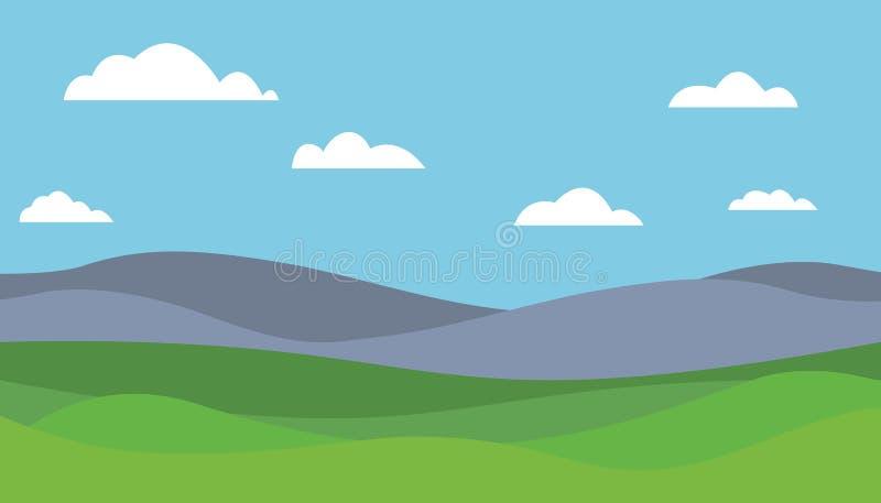 Ilustração lisa colorida dos desenhos animados da paisagem da montanha ilustração royalty free