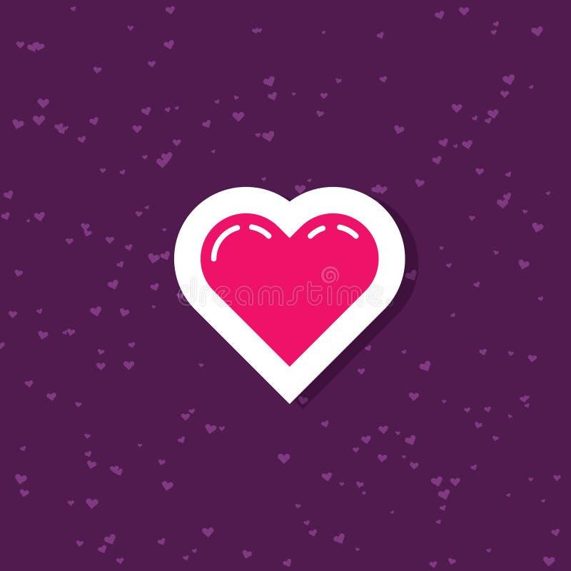 Ilustração lisa da arte de uma etiqueta simples dos desenhos animados do coração ilustração do vetor