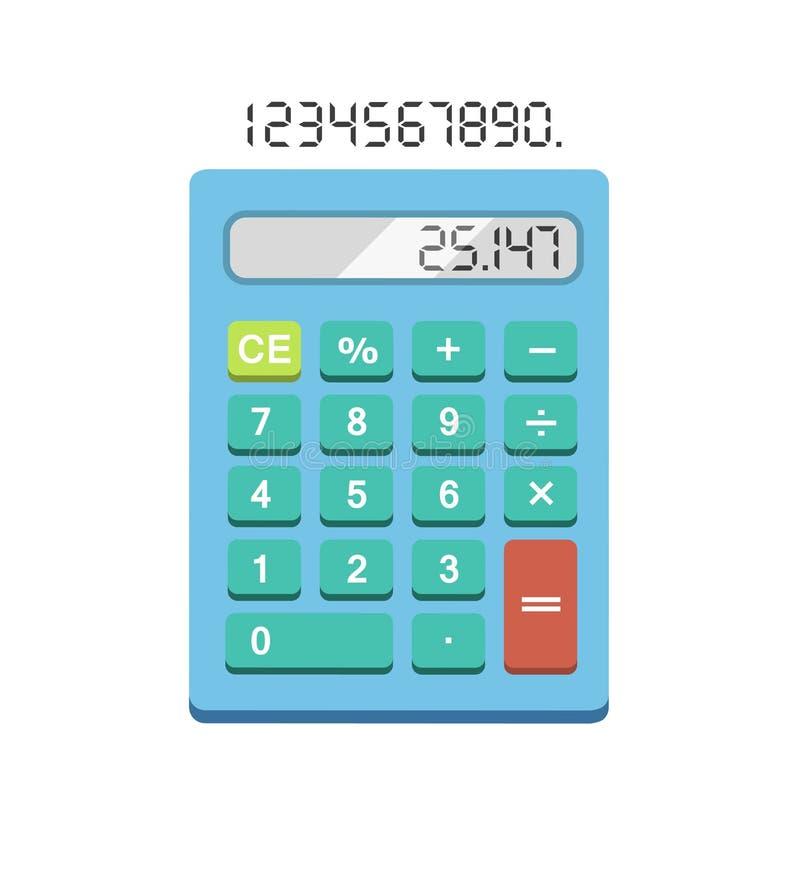 Ilustração lisa da calculadora no fundo branco Calculadora simples ilustração do vetor