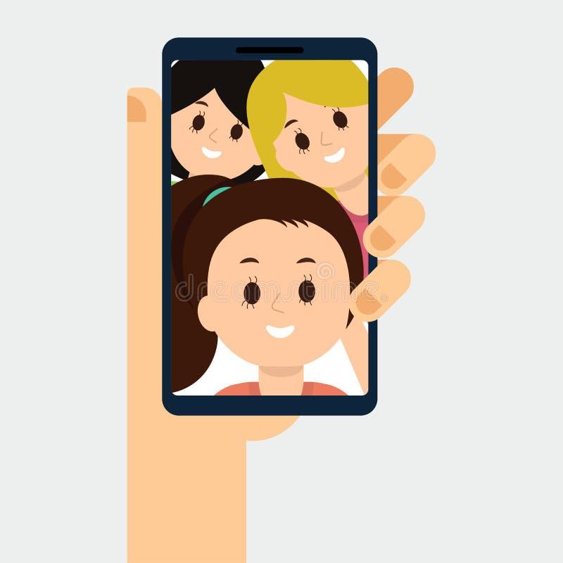 Ilustração lisa da chamada video com amigos, família Smartphone na mão ilustração royalty free