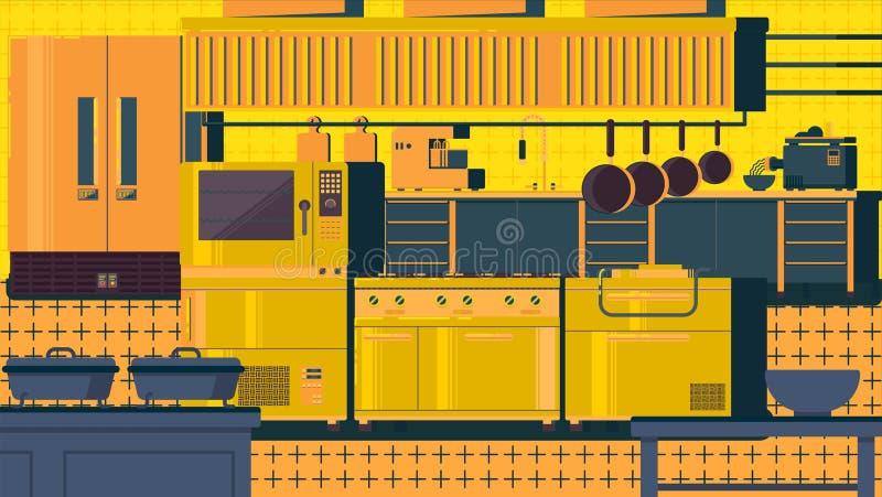 Ilustração lisa da cozinha ilustração royalty free
