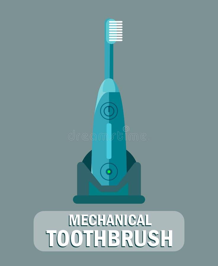 Ilustração lisa da escova de dentes mecânica, elétrica ilustração do vetor