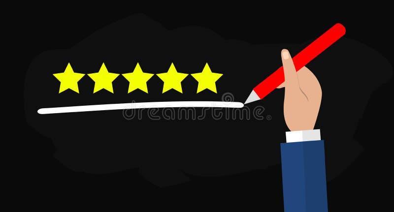 Ilustração lisa da mão que guarda a pena e que sublinha cinco estrelas para o melhor serviço de qualidade ilustração royalty free