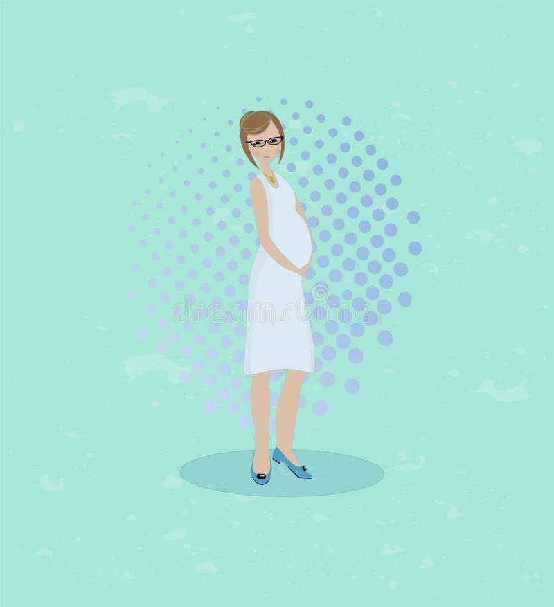 Ilustração lisa da mulher gravida ilustração do vetor