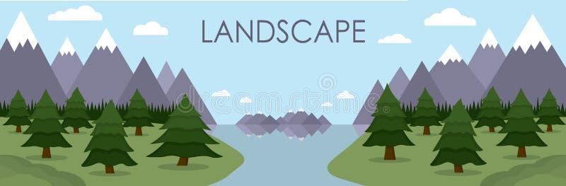 A ilustração lisa da paisagem da montanha refletiu no lago cercado pela floresta do pinheiro imagem de stock