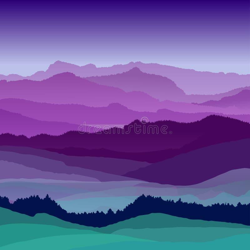 Ilustração lisa da paisagem da noite Montes bonitos, projeto do vetor ilustração stock