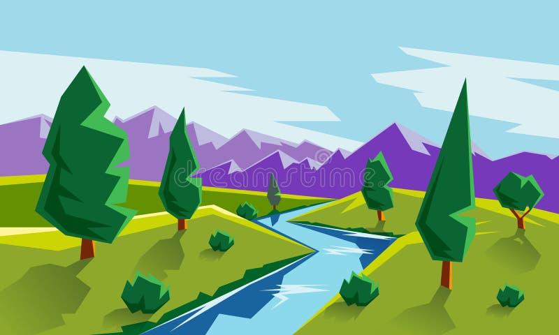 Ilustração lisa da paisagem do estilo com vale, montanhas e rio ilustração stock