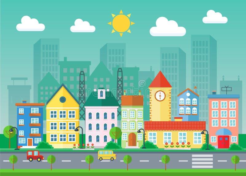 Ilustração lisa da paisagem urbana do vetor Construções e arranha-céus da vila Paisagem da arquitetura da cidade ilustração do vetor
