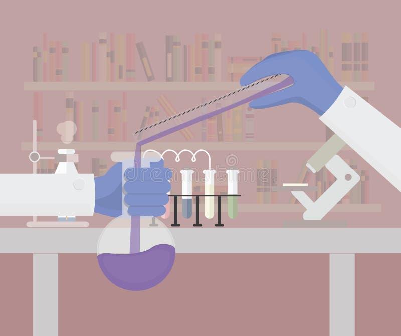 Ilustração lisa da pesquisa científica Ilustração química do vetor do laboratório ilustração royalty free