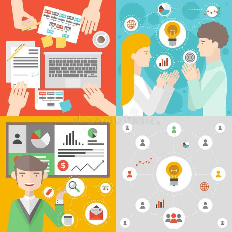 Ilustração lisa da reunião de negócios e dos trabalhos de equipa ilustração do vetor