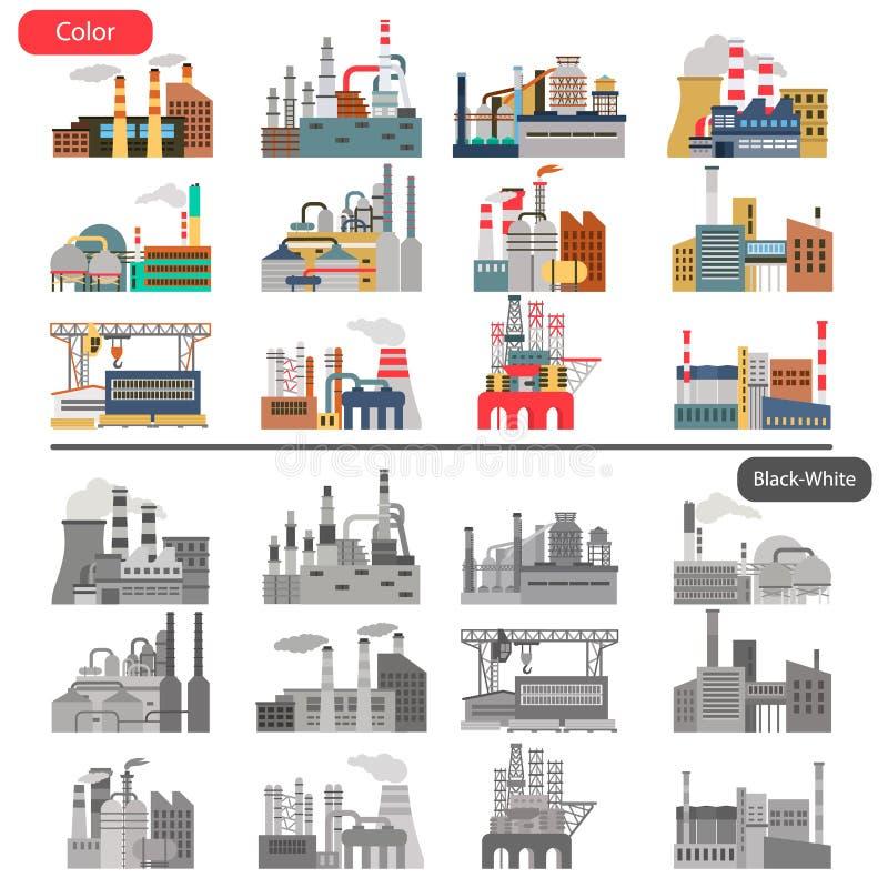 A ilustração lisa das fábricas diferentes ajustou-se na cor e no conceito preto e branco ilustração stock