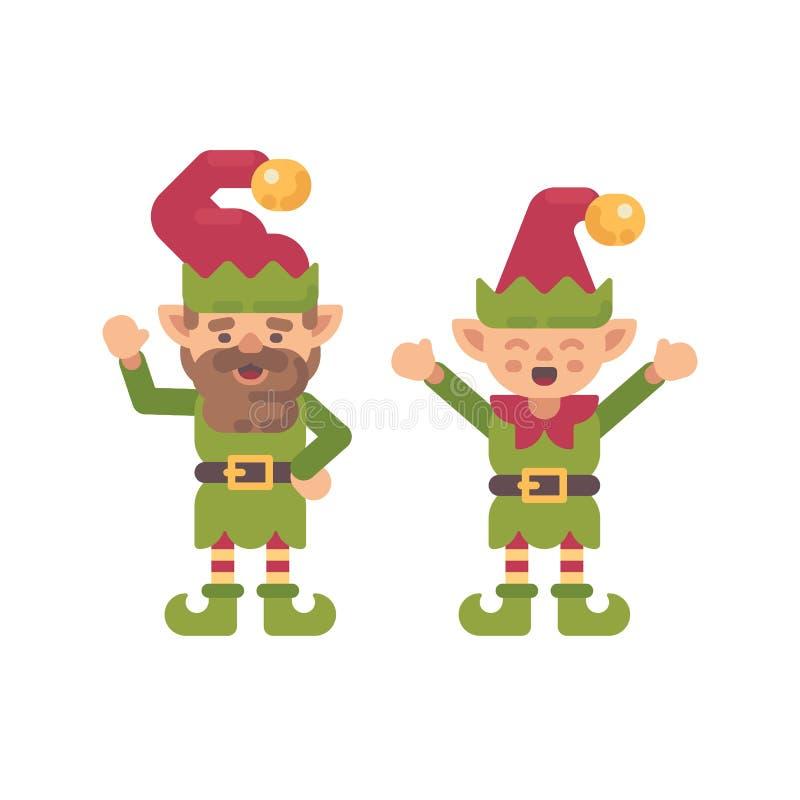 Ilustração lisa de dois duendes bonitos do Natal Caráter do feriado ilustração do vetor