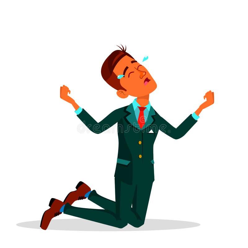 Ilustração lisa de grito dos desenhos animados de In Suit Vetora do homem de negócios indiano ilustração royalty free