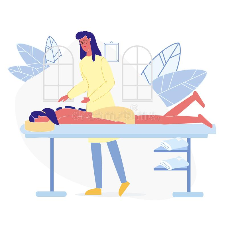 Ilustração lisa de relaxamento do vetor da terapia da massagem ilustração do vetor