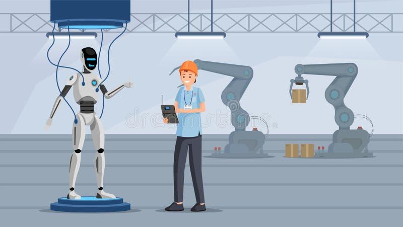 Ilustração lisa de teste do vetor do processo do robô Verificador alegre no caráter do dispositivo eletrónico da terra arrendada  ilustração royalty free