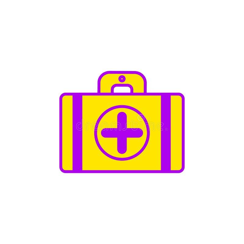 Ilustração lisa do ícone da mala de viagem da ambulância ilustração royalty free