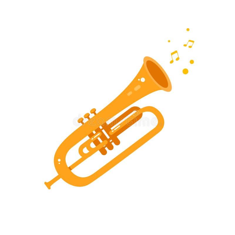 Ilustração lisa do ícone da trombeta ilustração stock