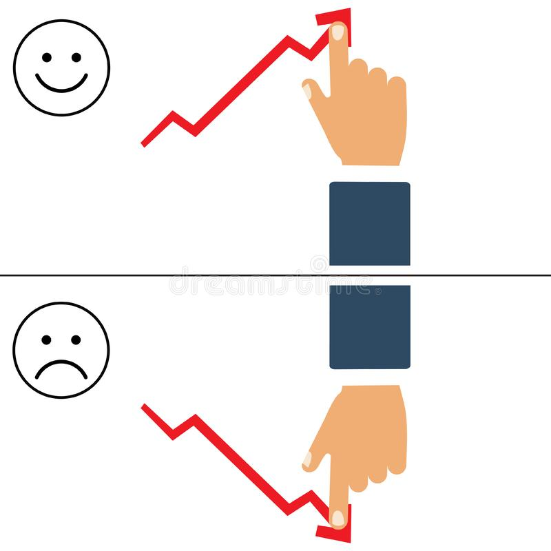 Ilustração lisa do bons e gráfico e mão maus de negócio Seta do crescimento do impulso do homem de negócios para melhorar o progr ilustração royalty free