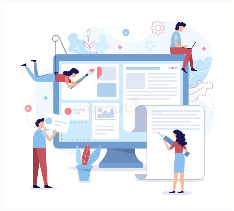 Ilustração lisa do desenvolvimento da Web ilustração royalty free